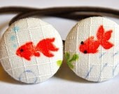 goldfish fabric covered button ponytail holders