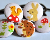 SALE 50% OFF EVERYTHING see shop announcement for details - woodland friends fabric covered button ponytail holders