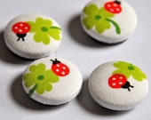 SALE 50% OFF EVERYTHING see shop announcement for details ladybug and four leaf clover - set of four fabric button magnets