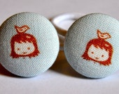 SALE 50% OFF EVERYTHING see shop announcement for details little girl blue fabric covered button ponytail holders