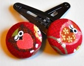 winking owl fabric button hair clips