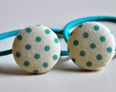 teal polka dot fabric button ponytail holders