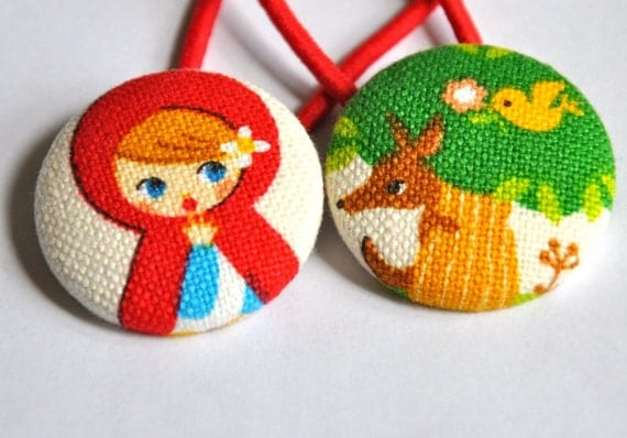 little red riding hood and the big bad wolf - fabric covered button ponytail holders