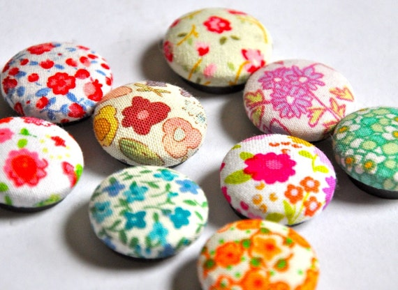 CLEARANCE SALE now on all magnets, paperclips and jewelry - buy one get any other set free - flower garden - set of nine fabric button magnets