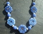 Blue Necklace, Polymer Clay Necklace, Handmade Necklace, Flower Necklace, Artist,