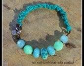 Sea Foam Bracelet, Sari Bracelet, Recycled Bracelet, Lampwork Bracelet,Bracelet