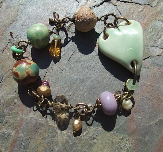 Reserved: Heart Bracelet, Pottery Bracelet, Mixed Media Bracelet, Lampwork Bracelet, Green, Crystal Bracelet
