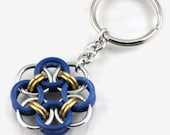 Blue, Gold, and Silver Helm Flower Key Chain