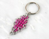 Pink European 4 in 1 Diamond Chain Maille Keychain