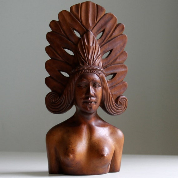 Vintage Wood Carving of Female with Headdress