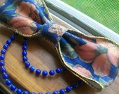 Country Lolita Blue and coral Floral Hair bow clip with bead Tiers-made to order