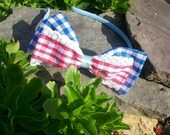 OOAK Country Lolita Double Lace Picnic Country Girl Gingham Bow Headband