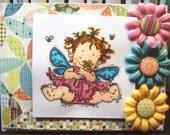 Handmade Card baby girl fairy pink blue yellow