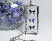 Origami Necklace 3 Butterfly silver window pane shadow box - Black and Purple