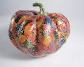 Paper Mache Pumpkin Japanese Paper Decoupage  - Orange Leaves