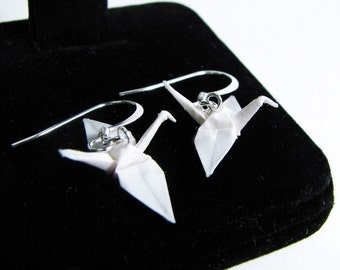 "Origami Crane earrings Miniature 3/4""   - Pure White Paper Crane Earrings Solid Color"