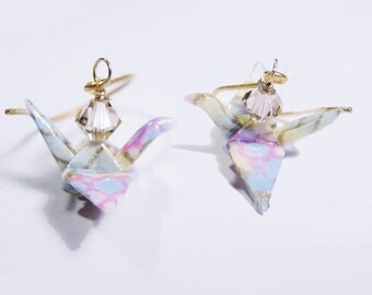 Origami Crane Earrings Miniatures Pastel with Crystals on Vermeil