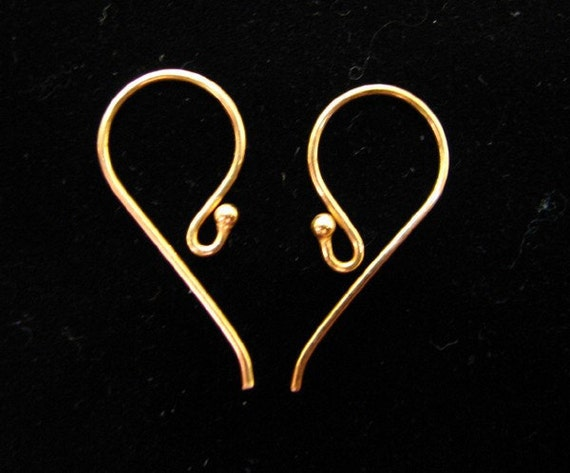 Vermeil Ear Wires 6 pcs Bali Artisan 24 x 12 x 0.8mm 24 K gold over sterling silver