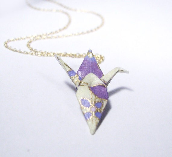 Beautiful Origami Crane Necklace - Spring Time - Gold Fill Chain