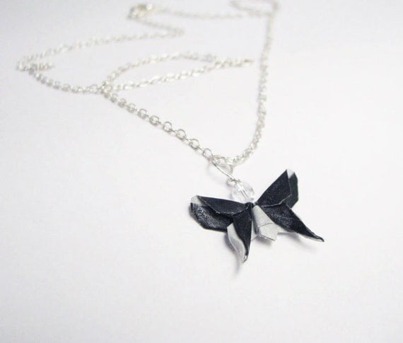 Butterfly Necklace Miniature Origami  - Black