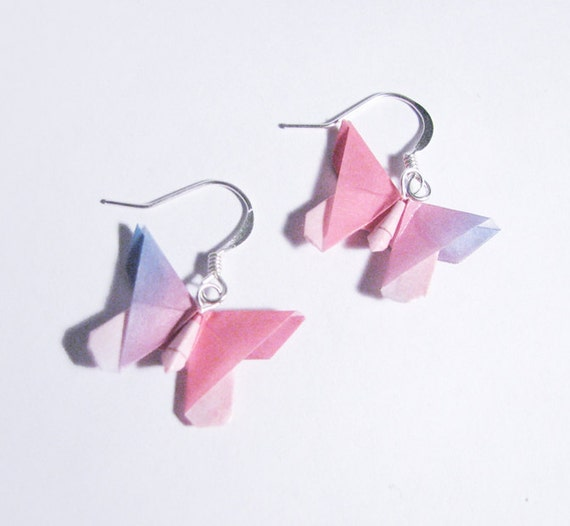Butterfly Earrings pink and blue sealed origami