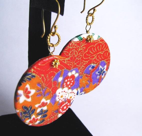 Washi Disk Earrings - Orange red -Vermeil