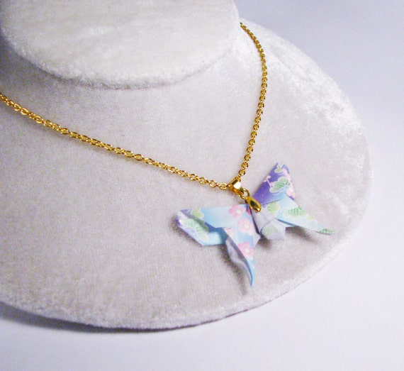 large origami butterfly necklace - Sky Blue and Purple