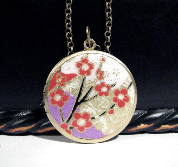 "Red Cherry Blossoms Locket Necklace 32mm"" Round 24"" Bronze"