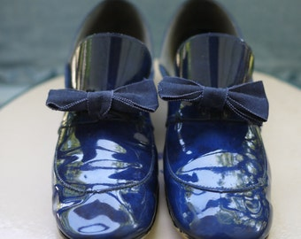 1970's Blue Loafer Heels with Bow