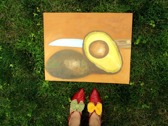 Original Avocado Oil Painting by Polly Bland
