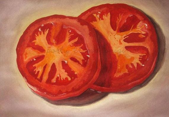 Original Tomato Slices Print 10x15 by Polly Bland