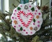 Candy Cane Ornament Merino Wool Felt