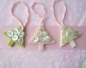 Christmas Tree Ornament Set of Three Mini Merino Wool Felt Trees in Pink, Green and White with Vintage Buttons
