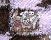 RESERVED Pink and Brown Kitten Baby Rag Quilt