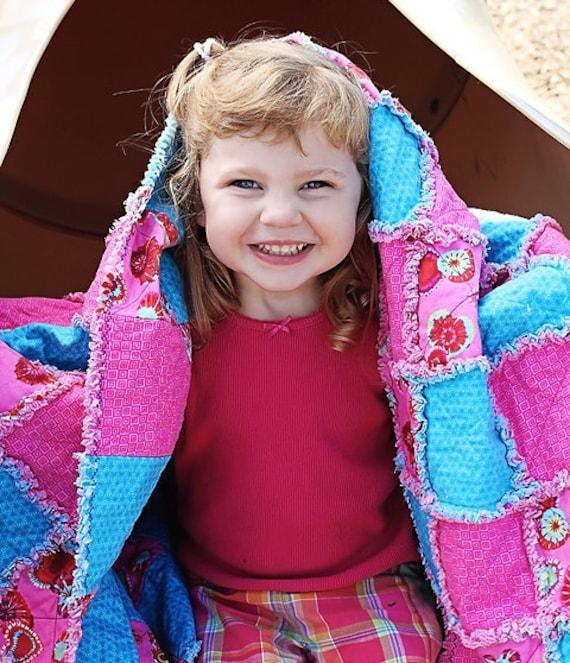Bright Pink & Blue Child's Rag Quilt