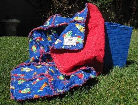 Reserved for Diana - Shoot for the Stars Baby Boy Rag Quilt - Adoption Fundraiser