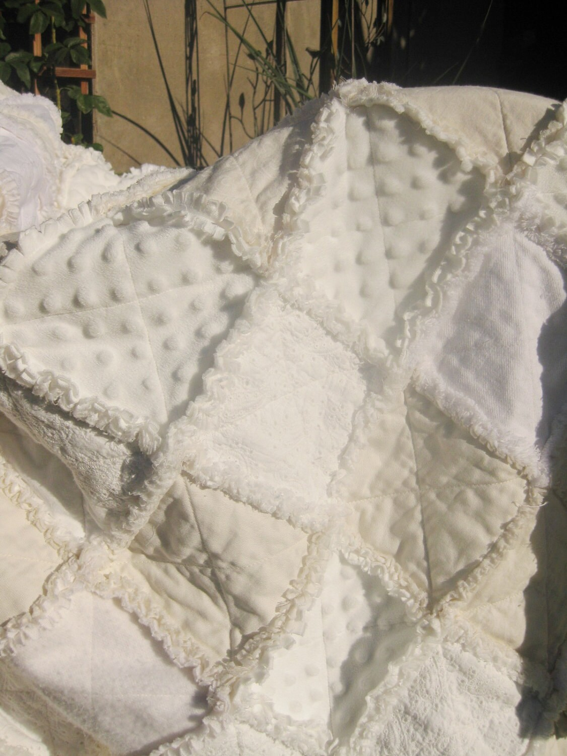 Shabby Chic Wedding Rag Quilt Reserved For Joanne