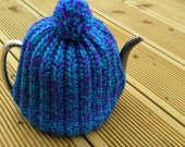 Bright, Cheerful Tea Cosy in Purple/Green mix - hand knitted