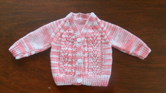 Cotton  Baby Cardigan in Pink/White