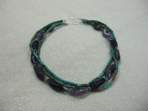 3 strands Turquoise and Amethyst  Necklace - Free Shipping