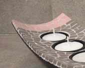Harmony - grey and pink mosaic tealight holder RESERVED  FOR EVAS