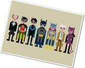 The *Original* Pixel People - Batman & Friends - PDF Cross-stitch Pattern - INSTANT DOWNLOAD