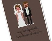 The *Original* Custom PATTERN Pixel People Portrait - Bride & Groom