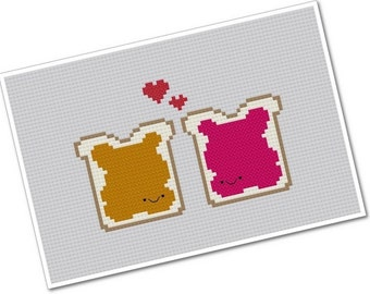 Perfect Pairings - Kawaii Peanut Butter and Jam - PDF Cross stitch Pattern - INSTANT DOWNLOAD