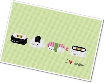 "Kawaii ""I Heart Sushi"" - PDF Cross Stitch Pattern - INSTANT DOWNLOAD"