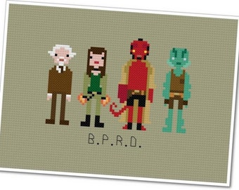 Hellboy & The B.P.R.D. - The *Original* Pixel People - PDF Cross Stitch Pattern - INSTANT Download