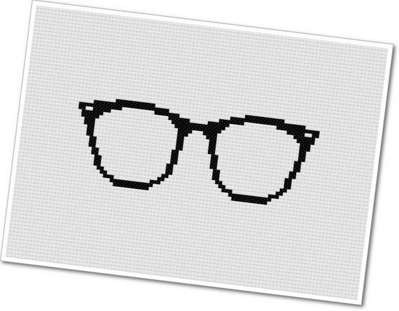 Horn Rimmed Glasses - PDF Cross Stitch Pattern - INSTANT DOWNLOAD