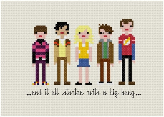 Pixel People - The Big Bang Theory - PDF Cross Stitch PATTERN