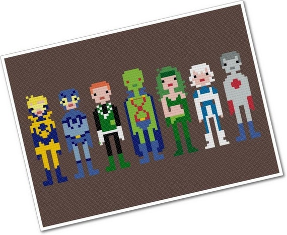 Justice League International - The *Original* Pixel People - PDF Cross-stitch Pattern - INSTANT DOWNLOAD