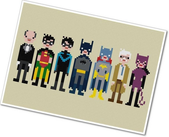 The *Original* Pixel People - Batman & Friends - PDF Cross-stitch Pattern - INSTANT DOWNLOAD